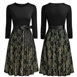 Lace Bottom Black Cocktail Dress,  US Size 10